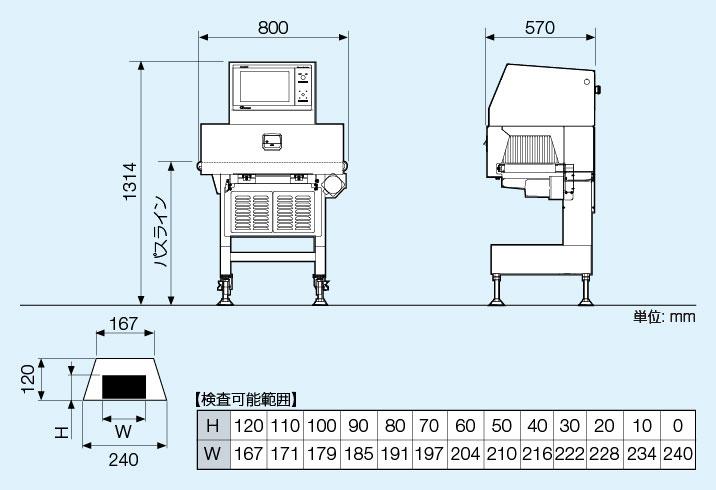SX2554W外観図